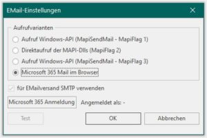 Versand von Belegen (Rechnungen, Angebote etc.) mit Office 365 (Outlook)