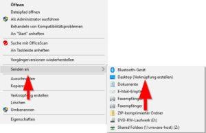 Senden an >> Desktop (Verknüpfung erstellen)