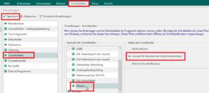Datei > Einstellungen > Schnittstellen > Dokument > ÖNorm > Schnittstelle: Aktiviert für Benutzer mit Administratorstatus